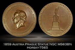 1859 Austria Radetzky Statue In Prague Large High Relief Bronze Medal Ngc Ms63bn