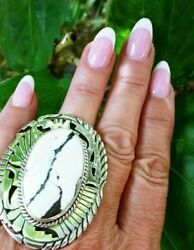 Native American Navajo Sterling And White Buffalo Turquoise Sign 8 Signed Ring