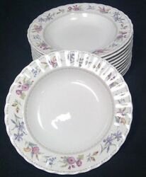 Mikasa Maxima Brywood 12 Soup Bowls 8 7/8 D Super Strong Fine China Flowers