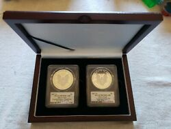 Limited And Congratulations Silver Eagle 2pc Boxed Set Mercati Signed Pr70dcam