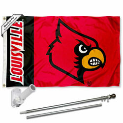 Louisville Cardinals Panel Flag Pole And Bracket Gift Set Package