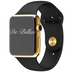24k Gold Plated 42mm Apple Watch Series 3 With Black Sport Band Gps+cellular