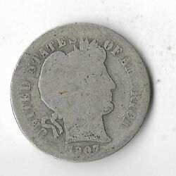 Rare 100 Years Old 1907 Us Silver Barber Collection Dime Bullion Coin Loto40