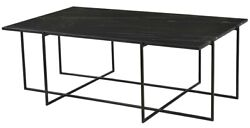 48 L Degna Coffee Table Modern Styling Black Antique Gunmetal Finished Metal
