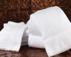 Jewel Standard Bath Towels Poly/cotton White - Cam Border See Case Pack Below