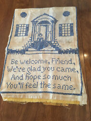Sampler 12 X 17 Welcome Friend Blue And White Primitive Cross Stitch-vintage