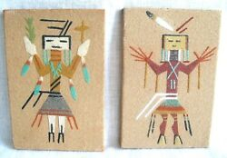 2 Native American Navajo Sand Paintings Healing God Signed By Harry H Begay