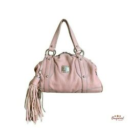 Authentic Mcm Pink Distressed Leather Small Satchel Handbag With Tassel And Charm