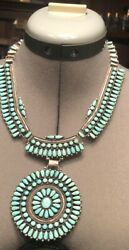 Native American Sterling Silver Turquoise Cluster Necklace
