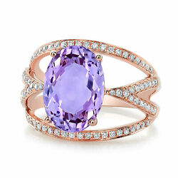 18k Rose Gold Oval Cut Amethyst Diamond Wide Cocktail Ring Right Hand Womens