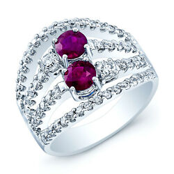 18k White Gold Ruby Diamond Multi Row Band Open Cocktail Ring Womens Wide 7