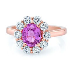 14k Rose Gold Oval Pink Sapphire Diamond Ring Solitaire Natural Engagement Women