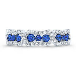 14k White Gold Diamond Blue Sapphire Sectional Band Ring Womens Round Natural