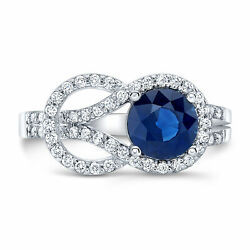 14k White Gold Blue Sapphire Diamond Belt Buckle Ring Cocktail Natural Round Cut