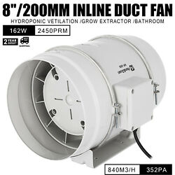 8in Inline Duct Fan Hydroponic Ventilation Blower efficient 2450rpm Extractor