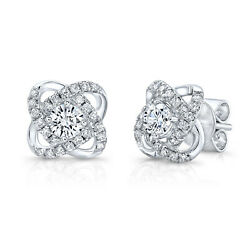 14k White Gold Natural Diamond Crossover Knot Stud Earrings Round Cut Natural