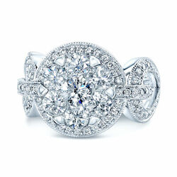 14k White Gold Diamond Equestrian Cocktail Ring Natural Round Cut 1.18 Ct Womens