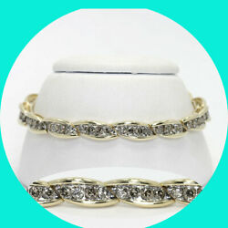 Diamond coaster bracelet 14K yellow gold fancy champagne round brilliant 4.70CT