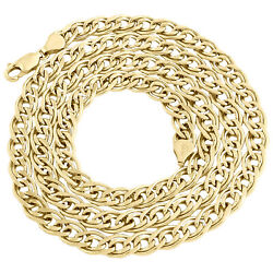 10k Yellow Gold 7mm Double Cuban Curb Italian Link Chain Necklace 22 - 30 Inch
