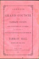 Address Of The Grand Council Of The Tammany Society Or Columbian Order Upon 1st