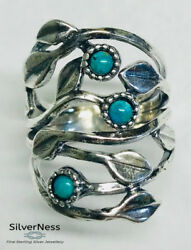 Silverness Women's Jewellery Israeli Ring Turquoise Stones 925 Sterling Silver
