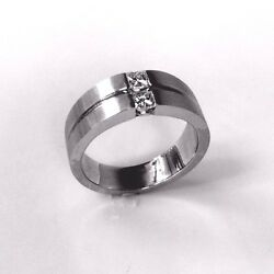 14 K White Comfort Fit Wedding Band With Princess Diamonds Made In Usa