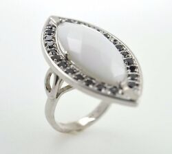 14 K White Gold And Black Diamonds White Marquis Agate Ring Made In The Usa