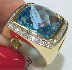 14k Yellow Gold Cabochon Blue Topaz With Diamonds Ladyand039s Ring
