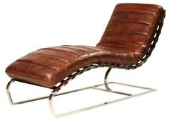 59 L Gianfranco Chaise Channeled Top Grain Leather Modern Curved Metal Base
