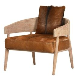 31 W Michela Occasional Chair Hair On Hide Leather Distressed Hardwood Frame