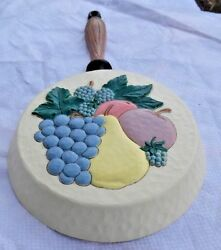 3-d Plastic Pan-shaped Wall Hanging Grapes/pear/apple Faux Wood Handle Usa 1995