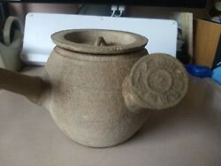 Antique Chinese Japanese Tea Ceramic Clay Pot Side Handle Marked-damaged Spout