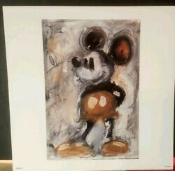 Eric Robison 100 Mickey Mouse 73/100 Vintage Look Color Lithograph 7 X 7
