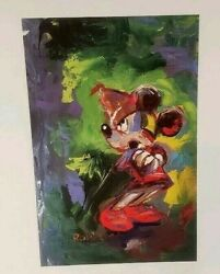 Eric Robison 100 Mickey Mouse 43/100 Vintage Look Color Lithograph 7 X 7