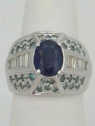 Ladies 14k White Gold 9x7 Oval Blue 2 1/2ct Sapphire Baguette Teal Diamond Ring