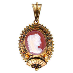Vintage 1830and039s Victorian Oval Hard Stone Carnelian Cameo 14k Gold Pin Pendant