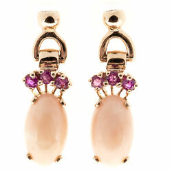 Antique Retro Art Deco 14k Rose Gold 12.25ct Natural Coral Earrings