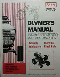 Sears Suburban Gt-18 Hydro Garden Tractor Owner Parts And Onan Service 2 Manuals