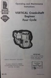 Tecumseh Vertical Engine Owners Manual Vh70 V60 Lawn Mower Riding Tractor Sears