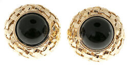 Vintage Clip Post Domed Basket Weave Button Style 14k 7/8 Inch Onyx Earrings