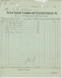1902 New England Telephone And Telegraph Co. Billhead West Derry New Hampshire