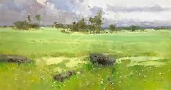 Meadow Landscape Original Oil Painting Large Size Painting One Of A Kind