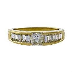 Vintage 1960 Ccc .30ct Radiant .36ct Baguette 14k Yellow Gold Diamond Band Ring