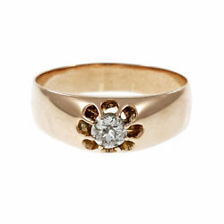 Antique Russian Old Mine Brilliant Cut Diamond Gypsy Ring 14k Pink Gold