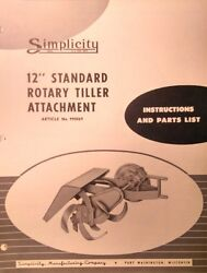 Simplicity Walk-behind Wards Tractor 12 Tiller Implement Owner And Parts Manual