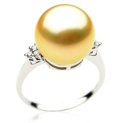 Genuine Pacific Pearls® AAA 13mm Australian Golden  South Sea Pearl Diamond Ring