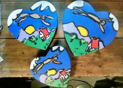 Art With Heart 3 Whimsical Nesting Boxes Acrylic Original Painting Signd Ej Gold