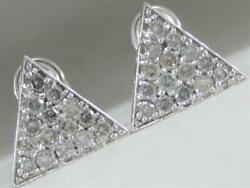 Large Modern 1.50ctw Pave Diamond 14kt White Gold Triangle Stud Earrings Cl3611