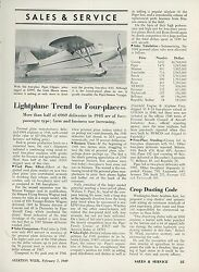 1949 Aviation Article Most New Private Airplanes Are 4 Seaters Piper Clipper