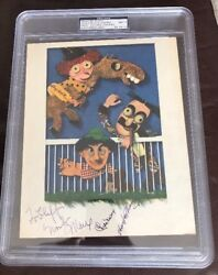 Marx Brothers Groucho Harpo 2x Chico Signed 4c A Day At The Races Promo Auto Psa